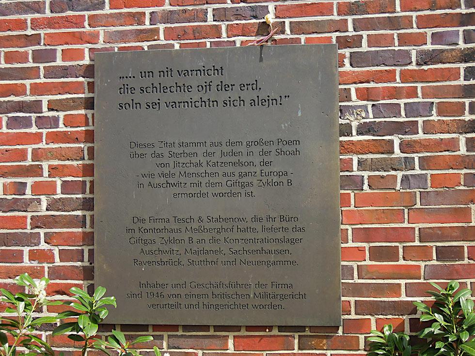 Gedenktafel am Kontorhaus Meßberghof
