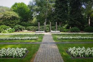 Blick über Grabfläche mit Denkmal