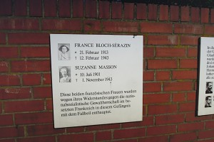 Gedenktafel für die Französinnen Bloch-Serazin und Masson
