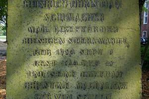 Inschrift auf dem Grabstein Schumachers