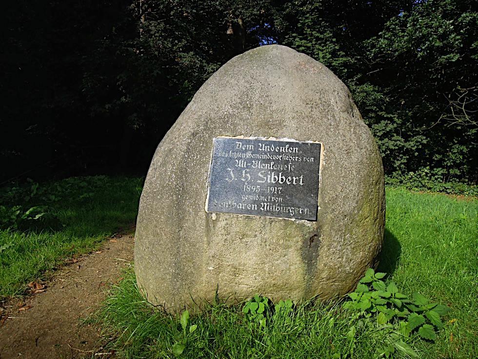 Gedenkstein zu Ehren von Johannes Heinrich Sibbert