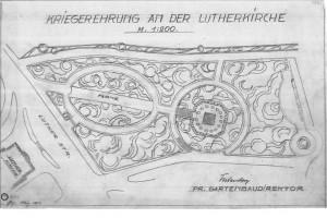 Zeichnung des Lage des Denkmals im Jahre 1933